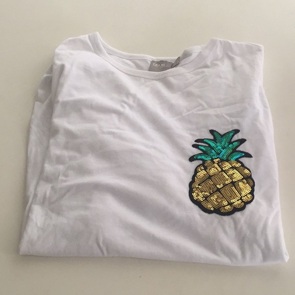 d01b0b992b77 Women's Asos sz 16 sequin pineapple white t-shirt.  M_5a53ed4f72ea881fb8021319